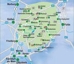 Übersichtskarte der Vulkanregion Vogelsberg